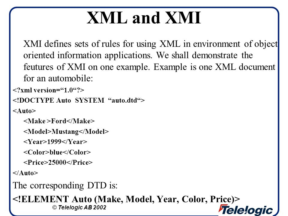 XML and XMI