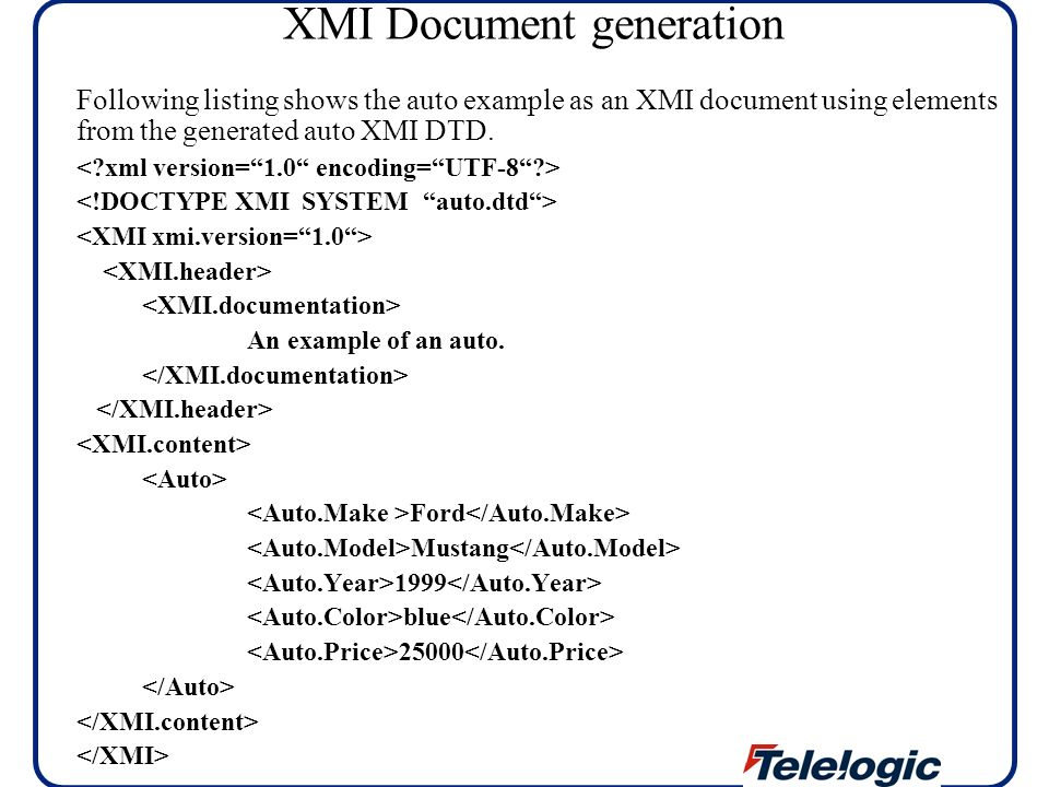 XMI Document generation