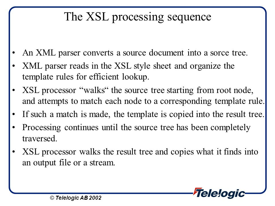 The XSL processing sequence