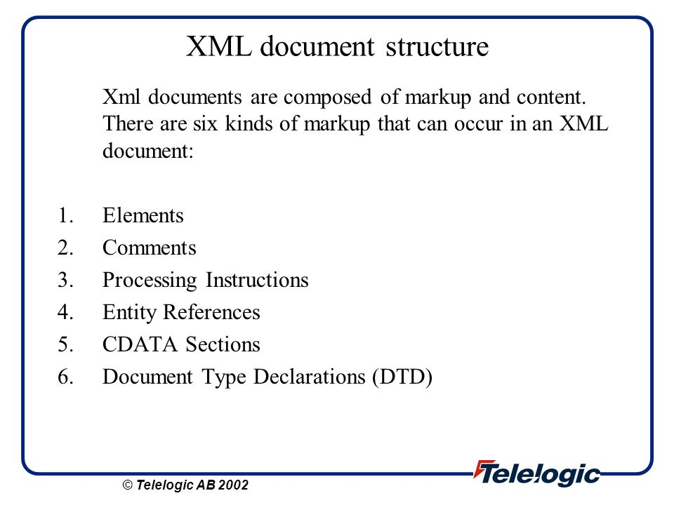XML document structure