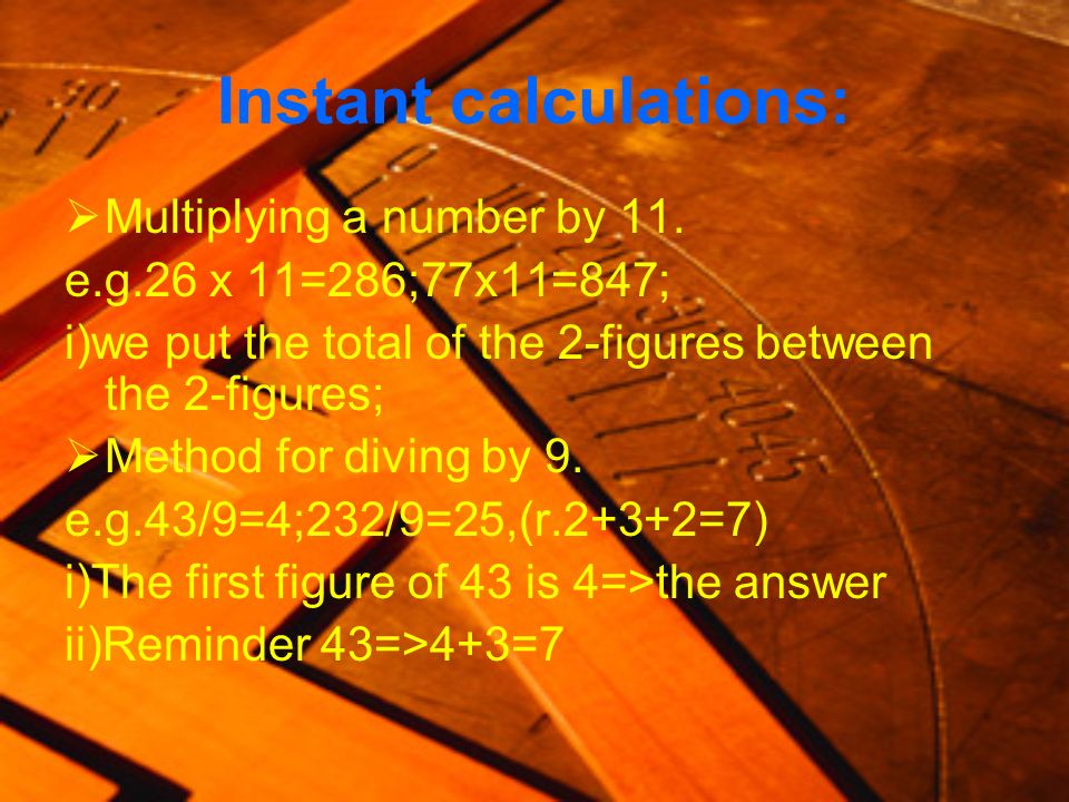 Instant calculations: