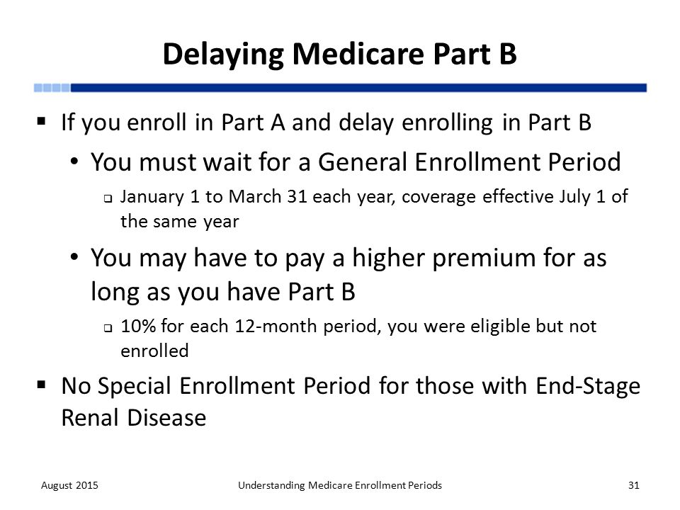 Understanding medicare enrollment periods ppt download delaying medicare part b ccuart Image collections