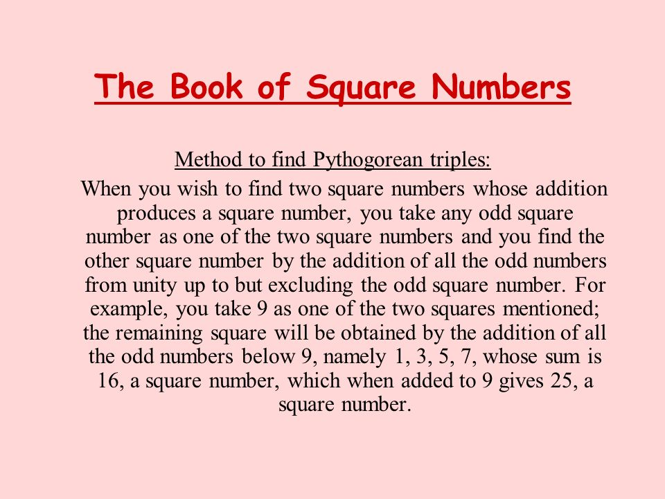 The Book of Square Numbers