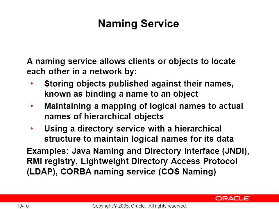 Naming Service A naming service allows clients or objects to locate each other in a network by: