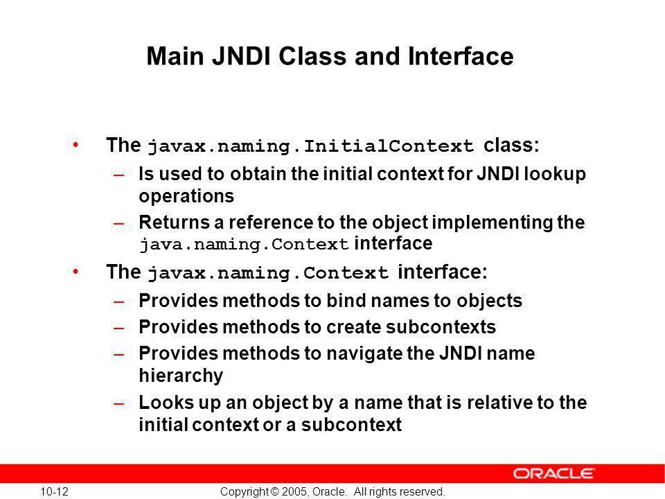 Main JNDI Class and Interface