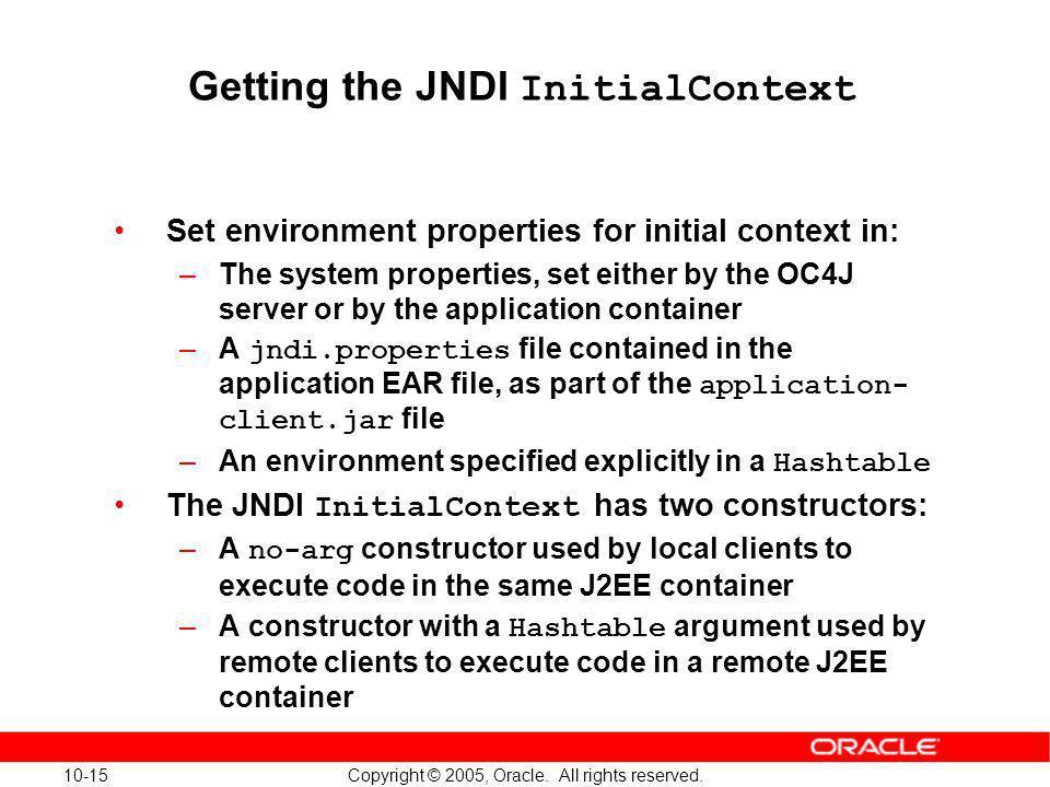 Getting the JNDI InitialContext