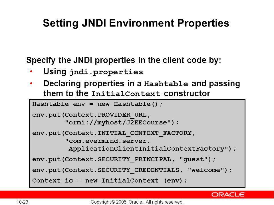 Setting JNDI Environment Properties