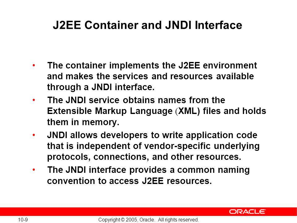 J2EE Container and JNDI Interface