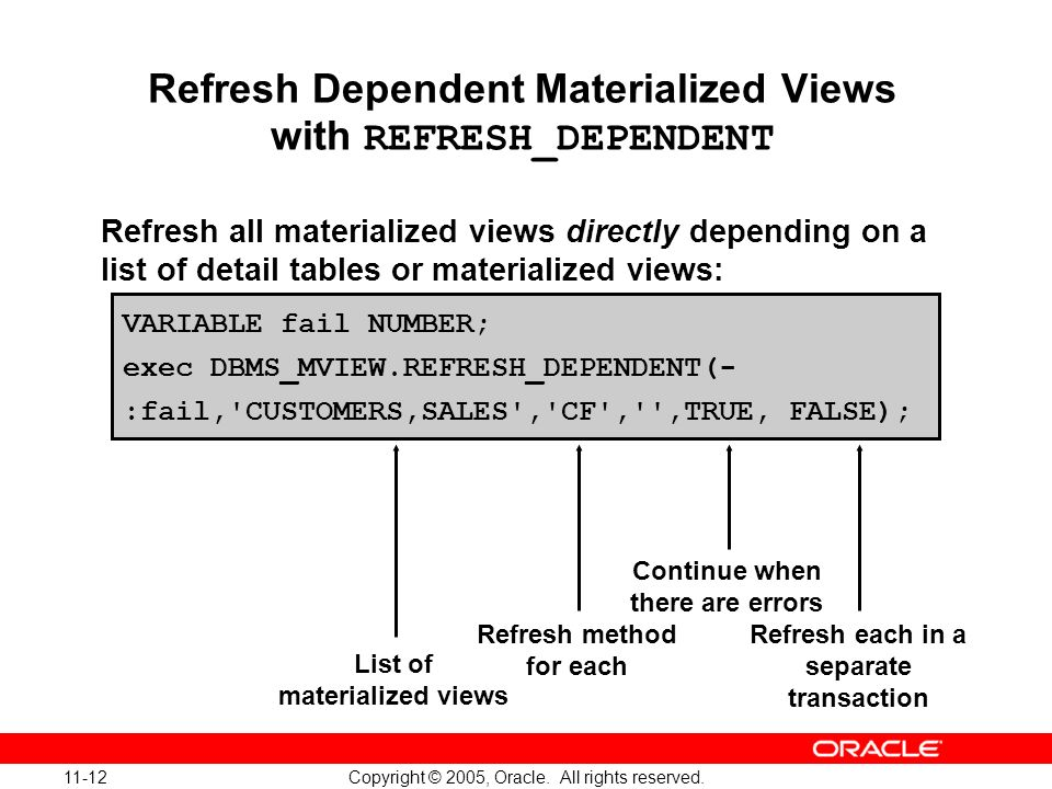 Refresh Dependent Materialized Views with REFRESH_DEPENDENT