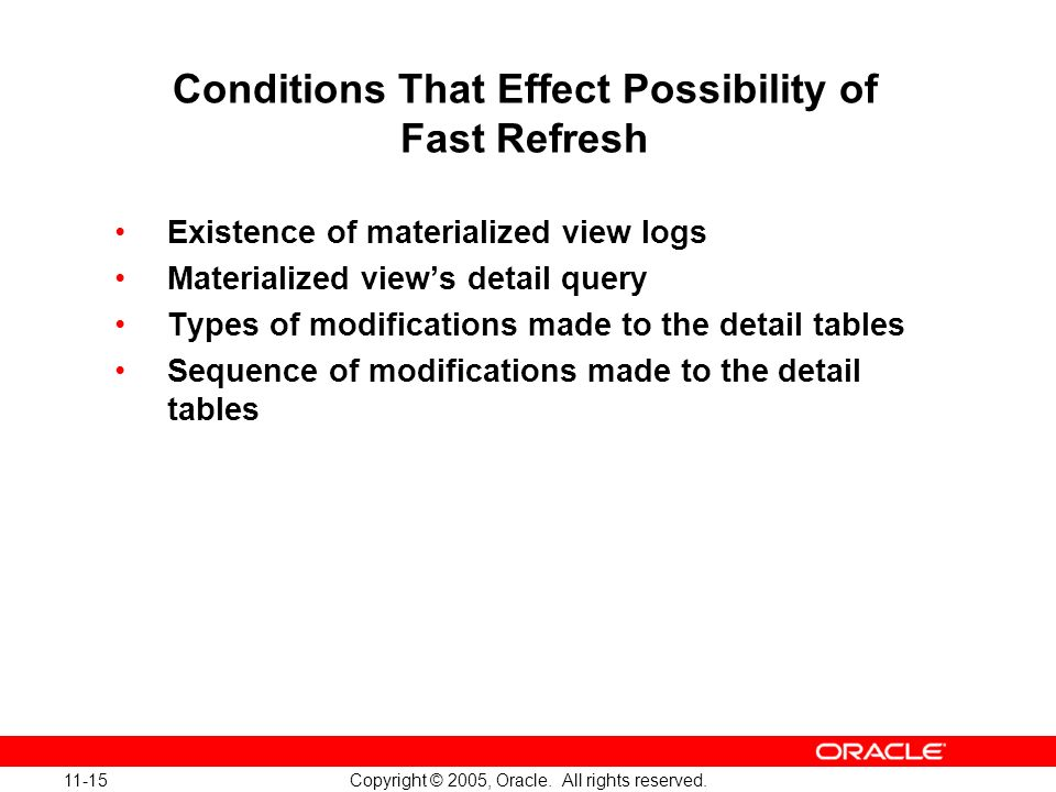 Conditions That Effect Possibility of Fast Refresh