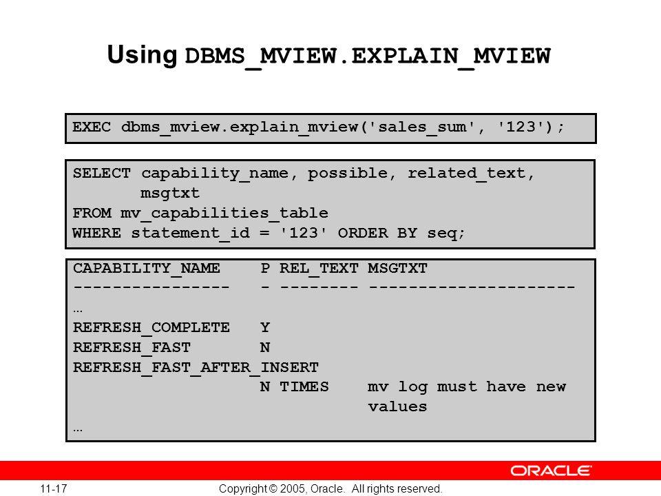Using DBMS_MVIEW.EXPLAIN_MVIEW