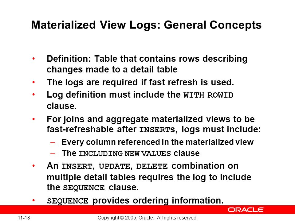 Materialized View Logs: General Concepts