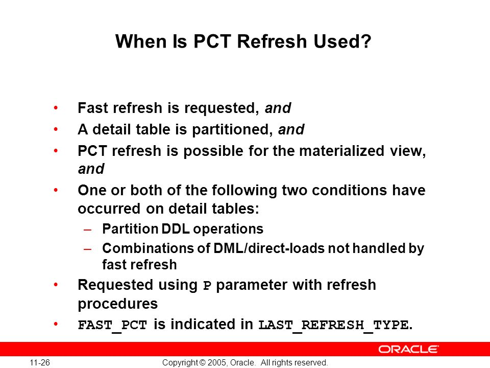 When Is PCT Refresh Used