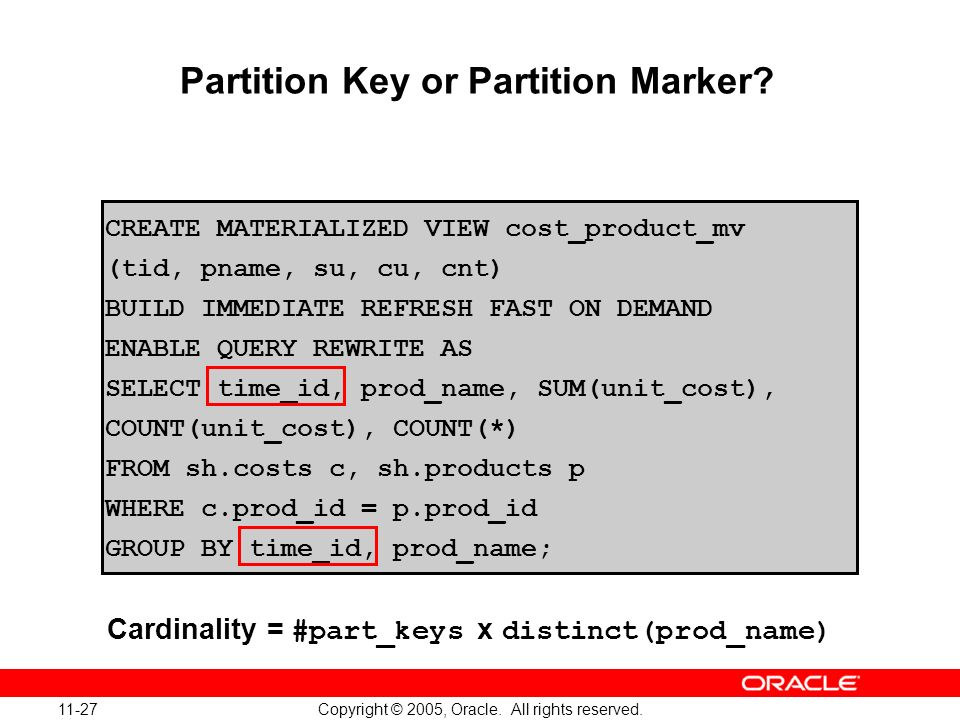 Partition Key or Partition Marker