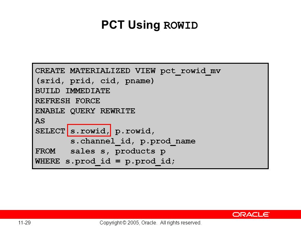 Oracle Database 10g: Implement and Administer a Data Warehouse 11-29