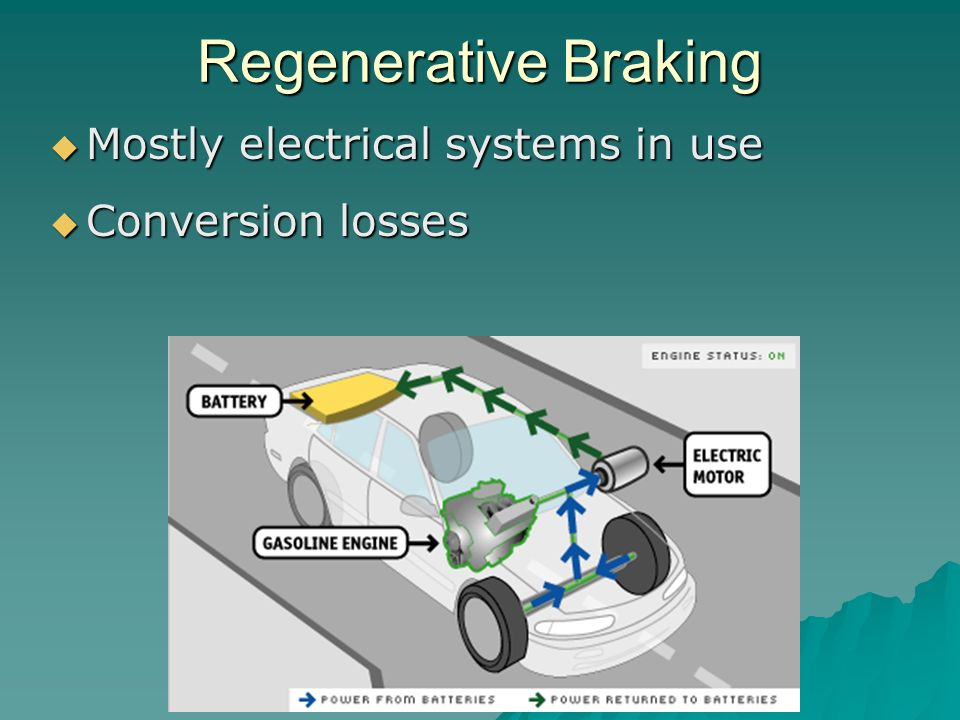 rail vehicle regenerative brake In general, regenerative braking is the capture of momentum from slowing the vehicle down so that the energy in the vehicle's momentum is not lost electric vehicles, such as hybrids, usually capture the regenerative braking energy as electricity for re-use by the drive train.