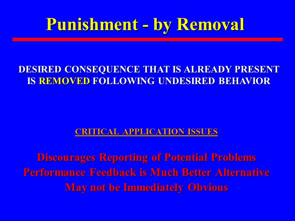 Punishment - by Removal