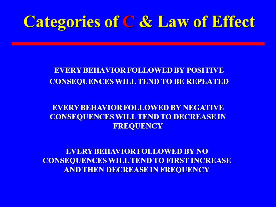 Categories of C & Law of Effect
