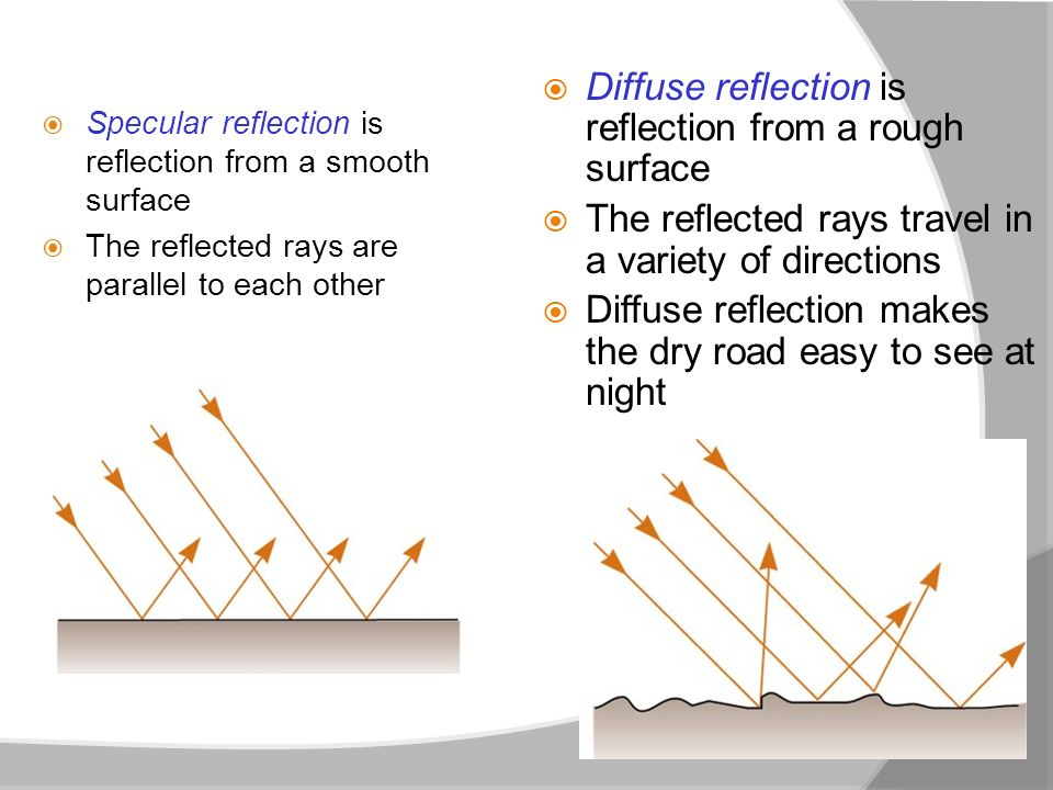 Diffuse reflection is reflection from a rough surface