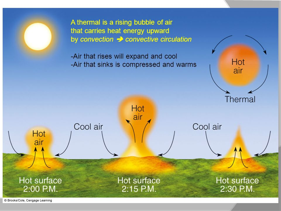 A thermal is a rising bubble of air that carries heat energy upward