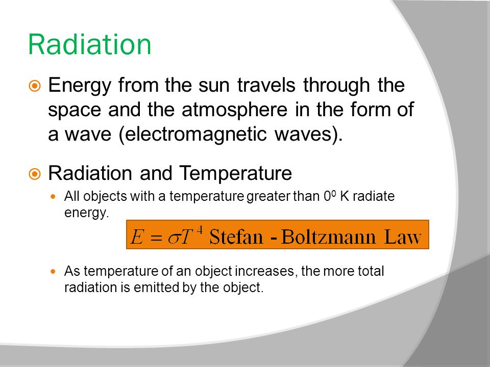 Radiation Energy from the sun travels through the space and the atmosphere in the form of a wave (electromagnetic waves).