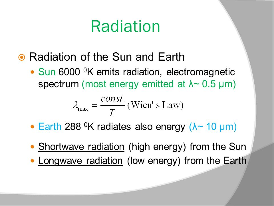 Radiation Radiation of the Sun and Earth