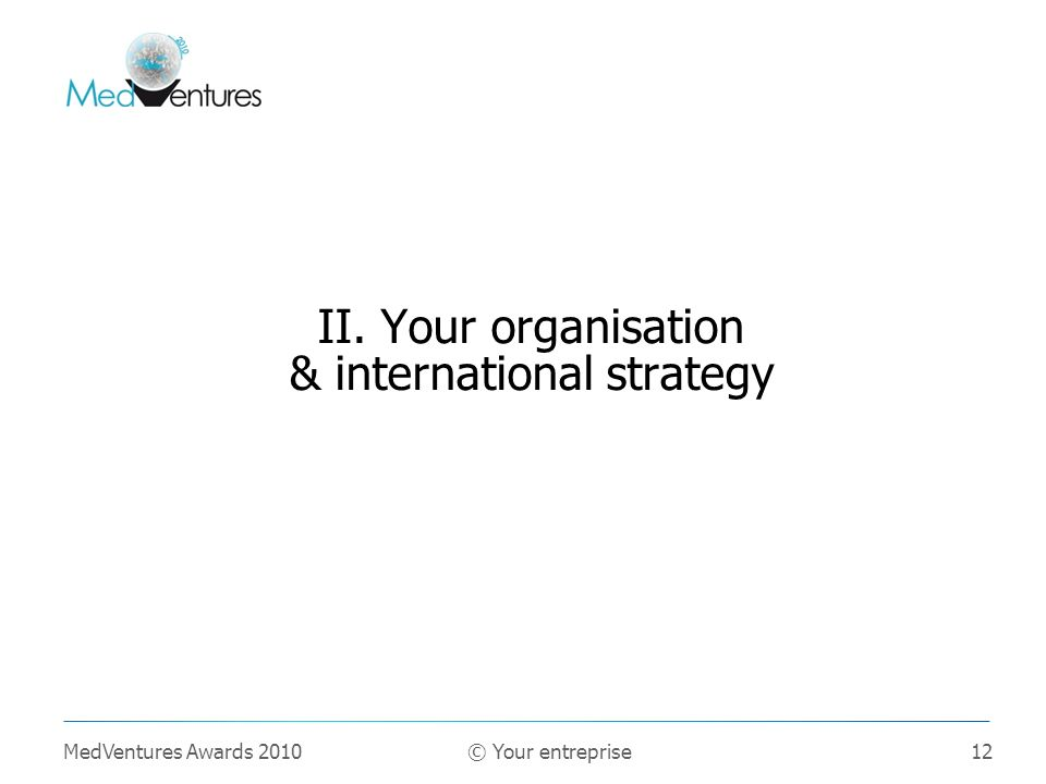 II. Your organisation & international strategy