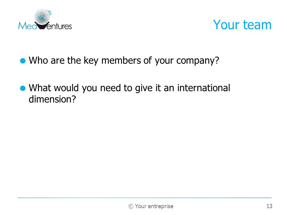 Your team Who are the key members of your company