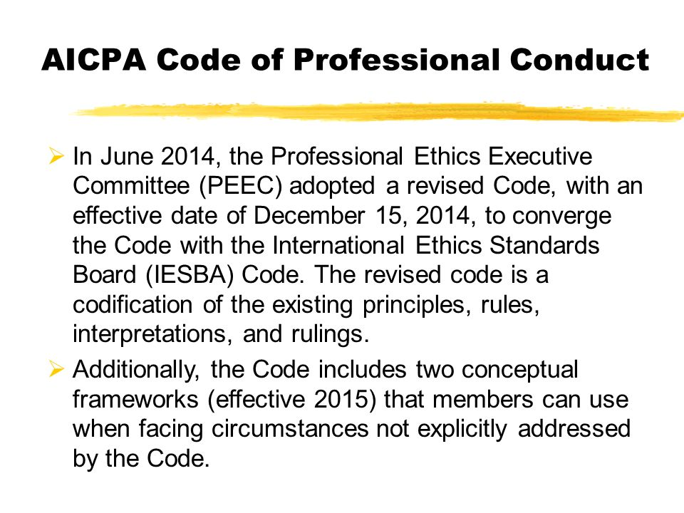 aicpa code of ethics essay Read this full essay on aicpa code of ethics for the accounting field, the  american institute of certified public accountants (aicpa) maintains and  enforces.