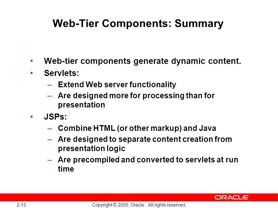 Web-Tier Components: Summary