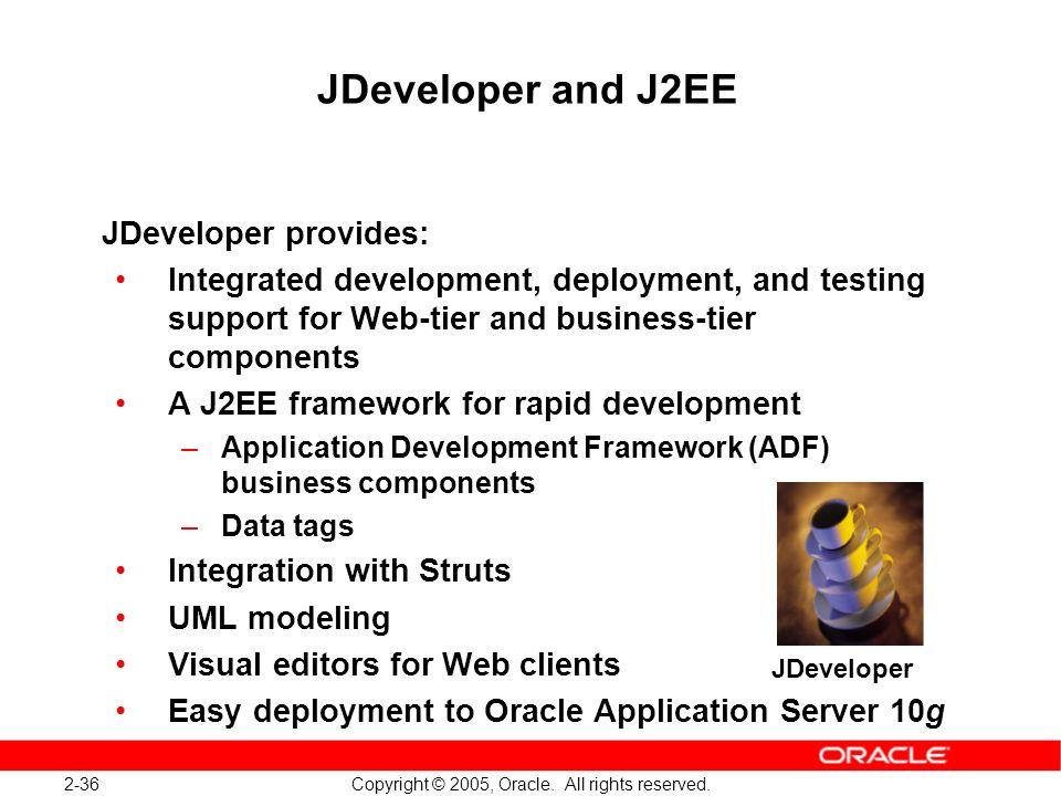 JDeveloper and J2EE JDeveloper provides: