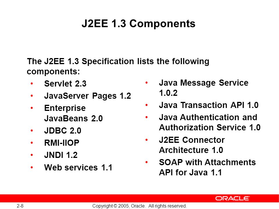 J2EE 1.3 Components The J2EE 1.3 Specification lists the following components: Servlet 2.3. JavaServer Pages 1.2.