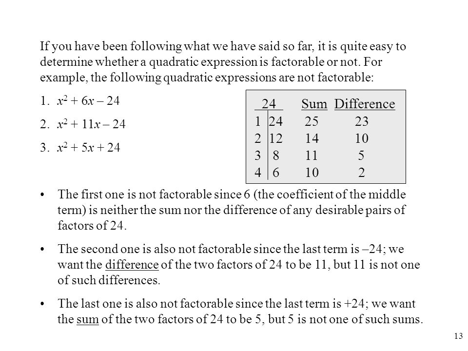 If you have been following what we have said so far, it is quite easy to determine whether a quadratic expression is factorable or not. For example, the following quadratic expressions are not factorable: