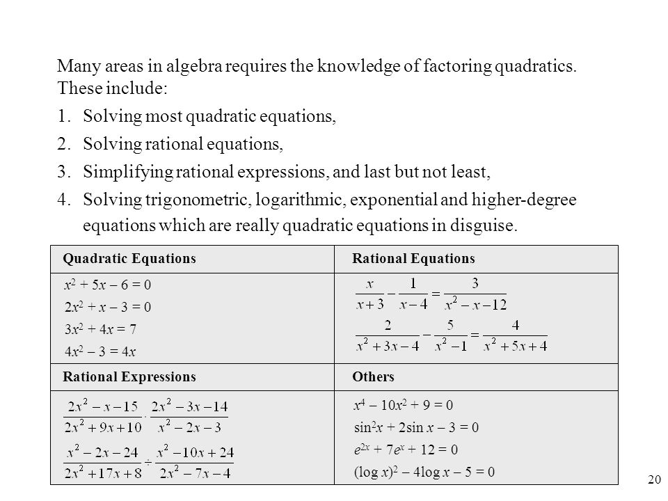 Solving most quadratic equations, Solving rational equations,
