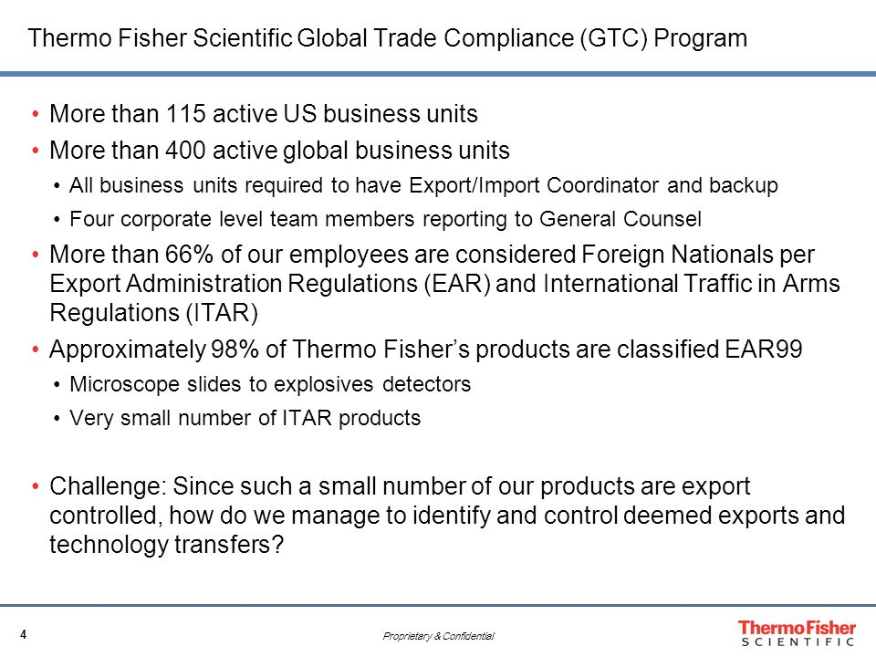 Thermo Fisher Scientific Technology Controls to Minimize Risk – Import Coordinator