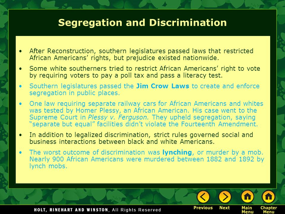 """discrimination and segregation in the video separate but equal As part of the civil rights in kentucky oral history project, the kentucky oral   this series of 14 videos, most an hour long, contains unedited versions of  21  years and championed bills prohibiting discrimination by race, sex, and age   board of education decision declared """"separate but equal"""" schools  unconstitutional."""