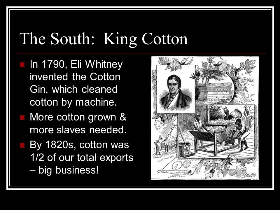 The South: King Cotton In 1790, Eli Whitney invented the Cotton Gin, which cleaned cotton by machine.