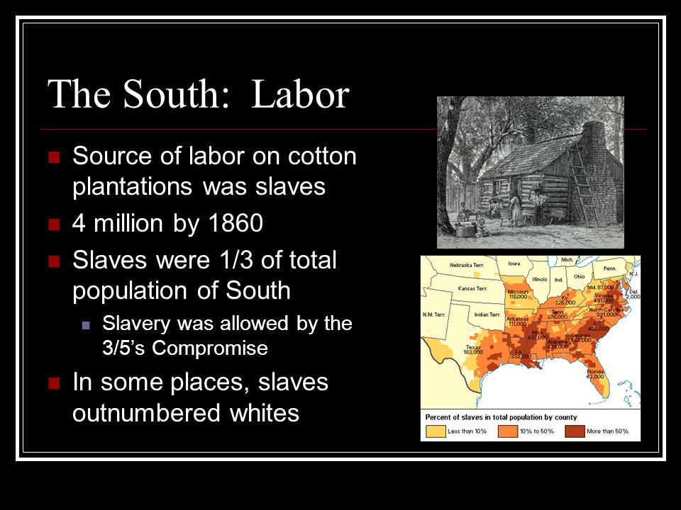 The South: Labor Source of labor on cotton plantations was slaves
