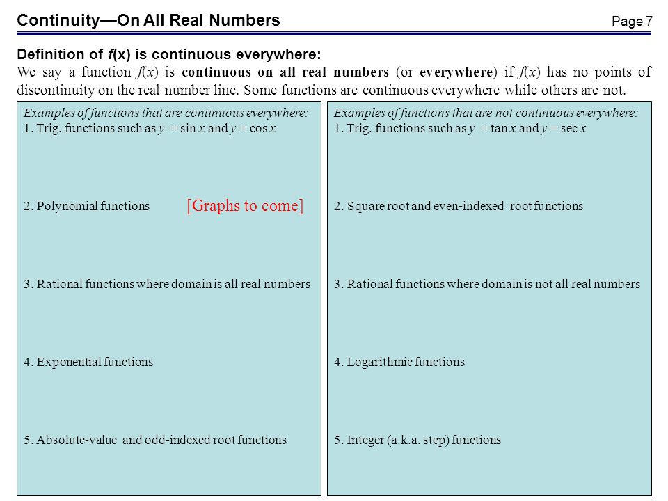 Continuity—On All Real Numbers