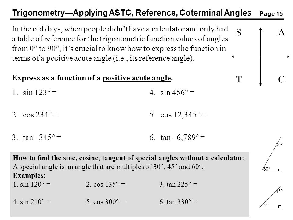 S A T C Trigonometry—Applying ASTC, Reference, Coterminal Angles