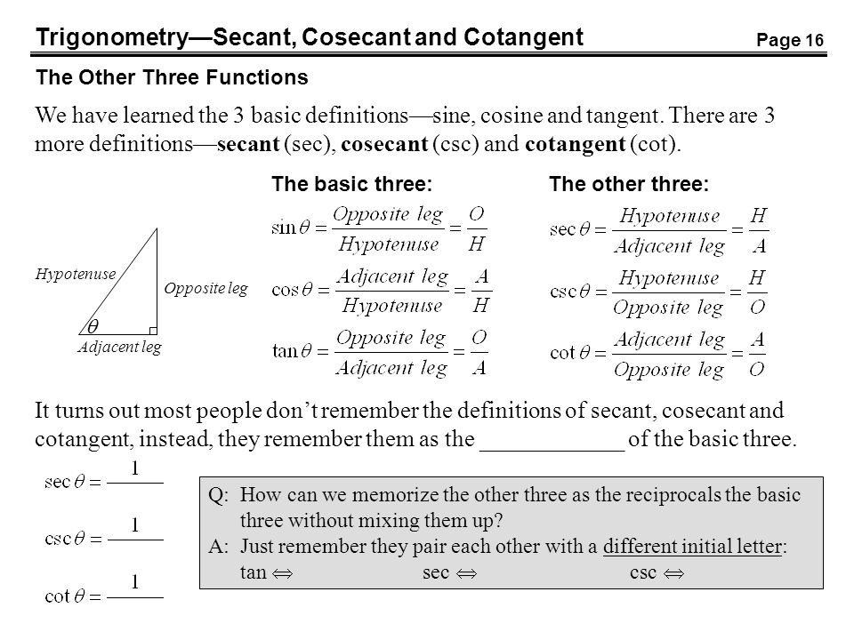Trigonometry—Secant, Cosecant and Cotangent