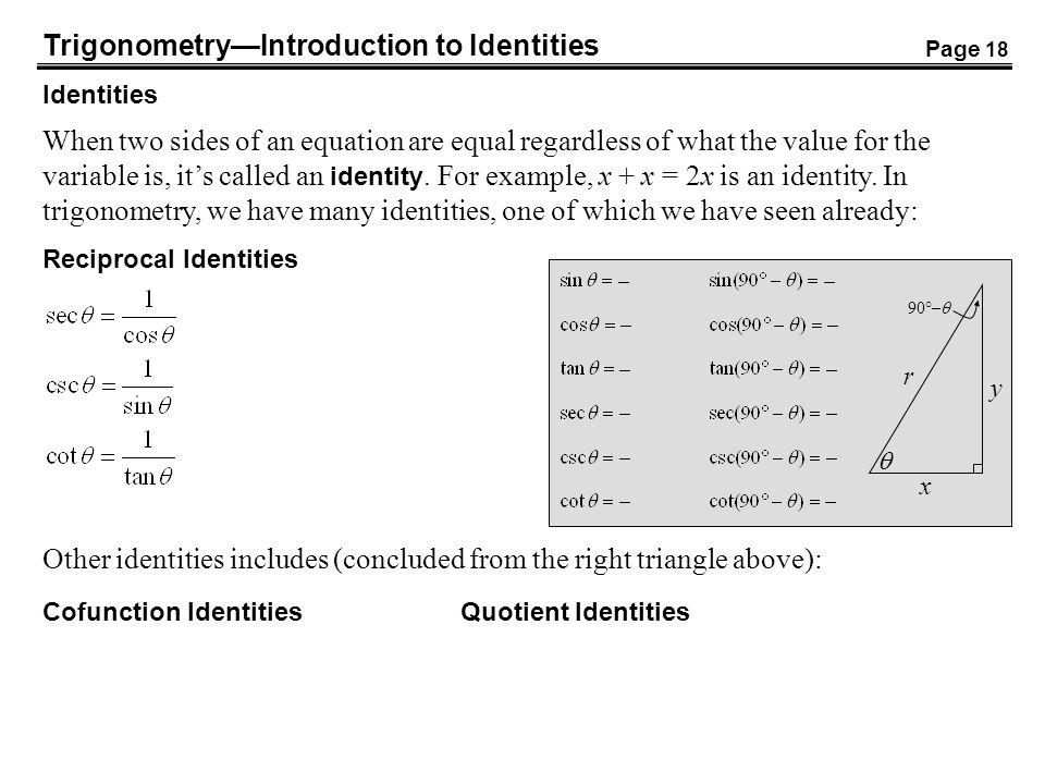 Trigonometry—Introduction to Identities