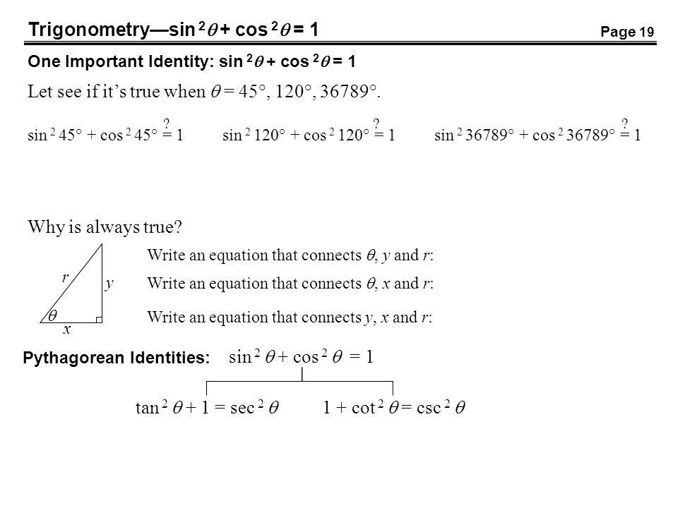 Trigonometry—sin 2 + cos 2 = 1