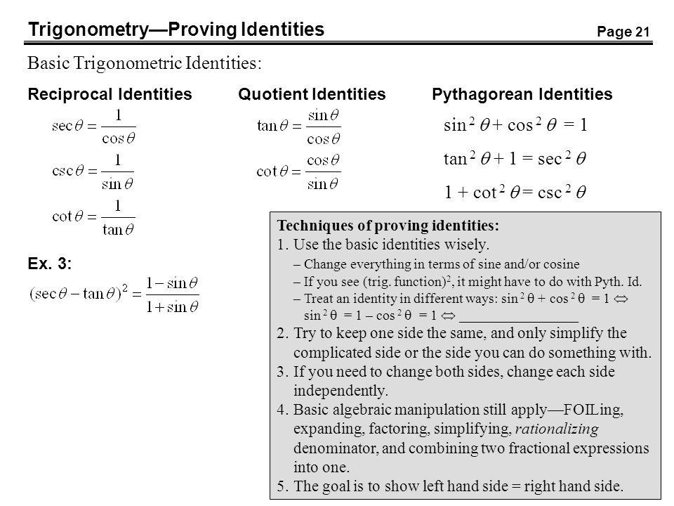 Trigonometry—Proving Identities