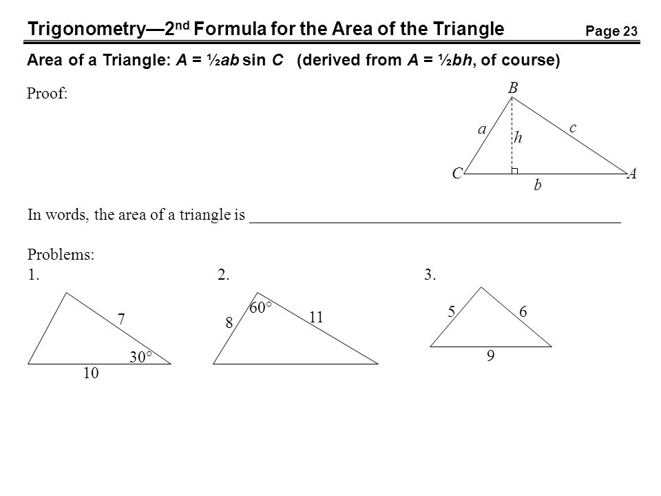 Trigonometry—2nd Formula for the Area of the Triangle