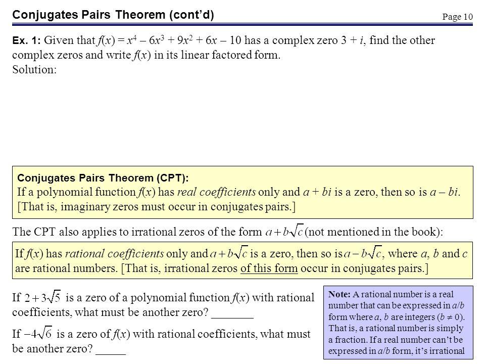 Conjugates Pairs Theorem (cont'd)