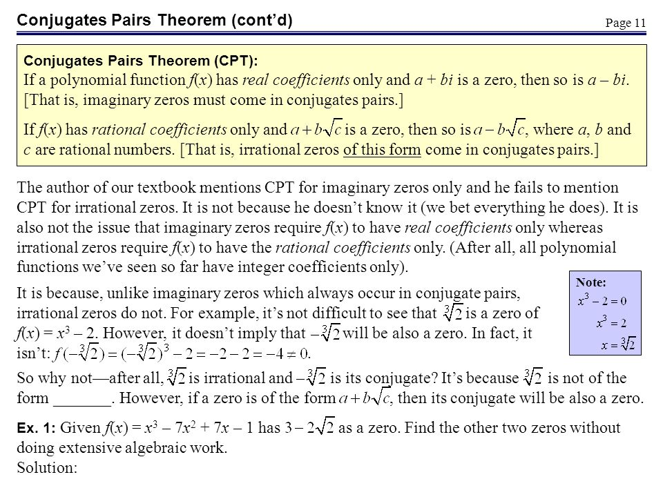 Conjugates Pairs Theorem (cont'd)