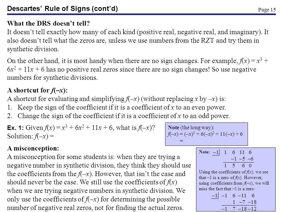 Descartes' Rule of Signs (cont'd)