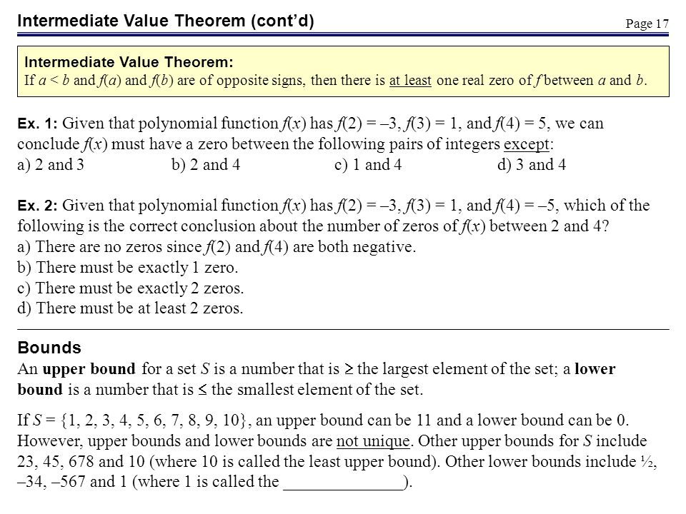 Intermediate Value Theorem (cont'd)
