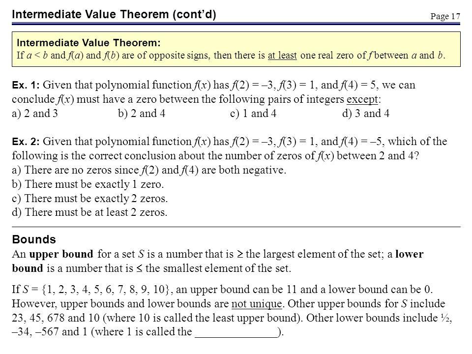 Intermediate Value Theorem (cont'd)